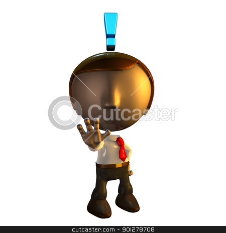 3d business man character with exclamation mark  stock photo, 3d business man character with exclamation mark holding his hand out in warning  by Christos Georghiou