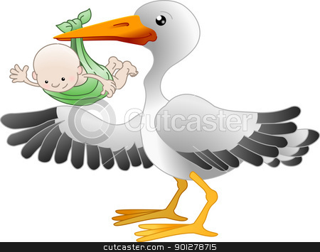 Stork with a newborn baby stock vector clipart, Illustration of a standing stork with a newborn baby pointing  by Christos Georghiou