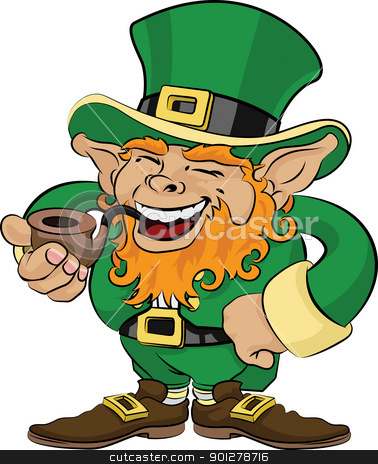 Illustration of St. Patrick's Day leprechaun stock vector clipart, Illustration of St. Patrick's Day leprechaun smoking a pipe