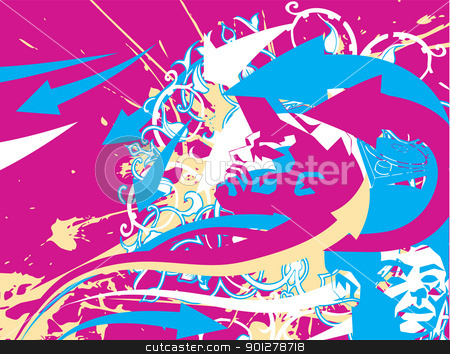 Street Background Illustration stock vector clipart, An illustrated funky street urban background with cool faces  by Christos Georghiou