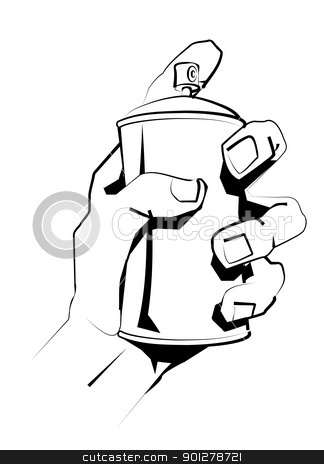 graff spray can stock vector clipart, Black and white illustration of hand holding spray can by Christos Georghiou