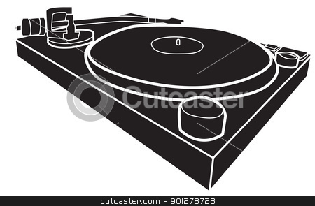 dj decks stock vector clipart, Black and white illustration of DJ deck with record by Christos Georghiou