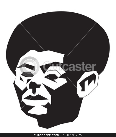 abstract man with afro stock vector clipart, Black and white illustration of African-American man with afro hair by Christos Georghiou