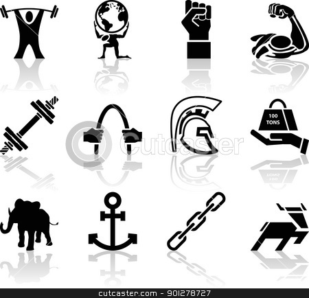 Conceptual icon set relating to strength stock vector clipart, A conceptual icon set relating to strength.  by Christos Georghiou