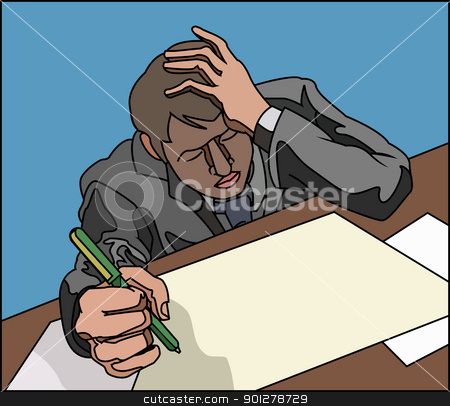 stress! stock vector clipart, Stressed looking overworked business person, or student.  by Christos Georghiou