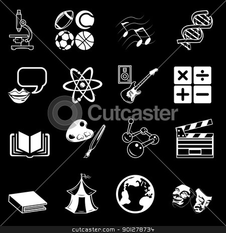 subject icons stock vector clipart, a subject category icon set eg. science, maths, language, literature, history, geography, musical, physical education etc  by Christos Georghiou