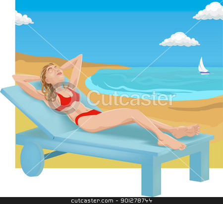 sunbathing illustration stock vector clipart, A woman sunbathing on a beach.  by Christos Georghiou
