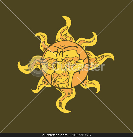 sun with a face  stock vector clipart, Vector illustration of a sun with a face  by Christos Georghiou