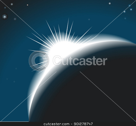 sunrise Background Illustration stock vector clipart, The sun rising over a planet or out on an eclipse  by Christos Georghiou