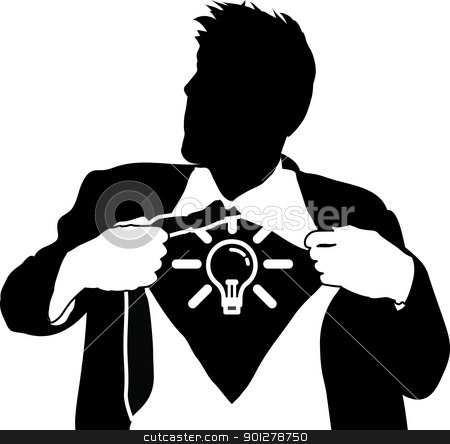 Super idea man concept stock vector clipart, A businessman tearing open his shirt to reveal a light bulb/ idea icon  by Christos Georghiou
