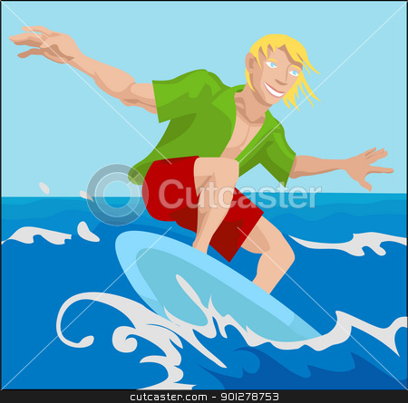 surfer illustration stock vector clipart, a surfer surfing a wave  by Christos Georghiou