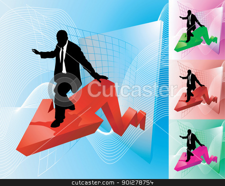 profit surfer business concept illustration stock vector clipart, Conceptual piece; business person surfing at the forefront of growth or profit increase  by Christos Georghiou