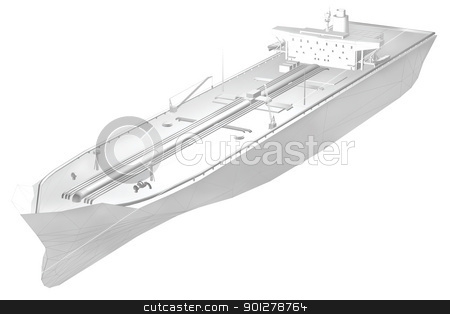 3d greyscale tanker stock photo, A 3d render of an oil tanker with some of the polygon grid visible modelled by me.  by Christos Georghiou