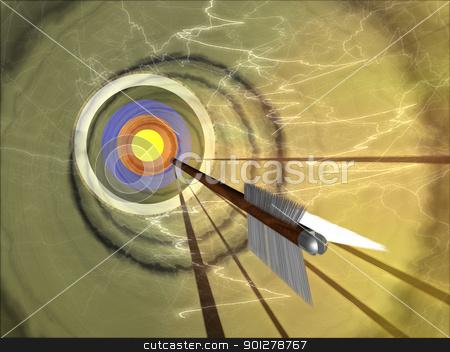 on target stock photo, An arrow hurtling towards a bullseye  by Christos Georghiou