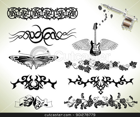 Tattoo flash design elements stock vector clipart, Series set of tattoo flash design elements with tattooists gun or machine by Christos Georghiou