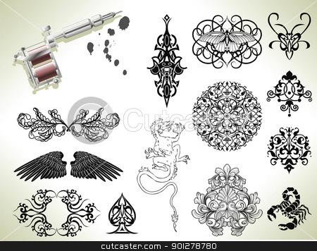 Tattoo flash design elements stock vector clipart, Series set of tattoo flash design elements with tattooists gun or machine by Christos Georghiou