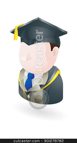 teacher illustration stock vector clipart, Illustration of a teacher in graduation cap  by Christos Georghiou