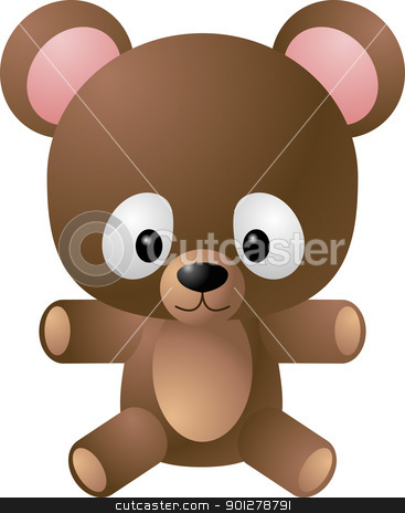teddy bear illustration stock vector clipart, A vector illustration of a cute cartoony teddy bear  by Christos Georghiou