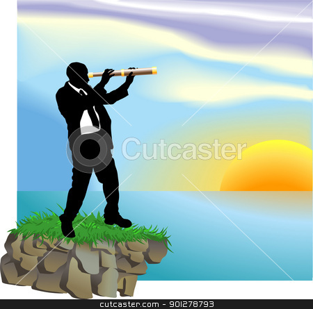 telescope  business concept illustration stock vector clipart, Conceptual piece. A business man looking through a telescope at new horizons and opportunities by Christos Georghiou