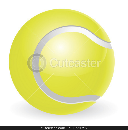 Tennis ball illustration stock vector clipart, An illustration of a traditional yellow tennis ball by Christos Georghiou