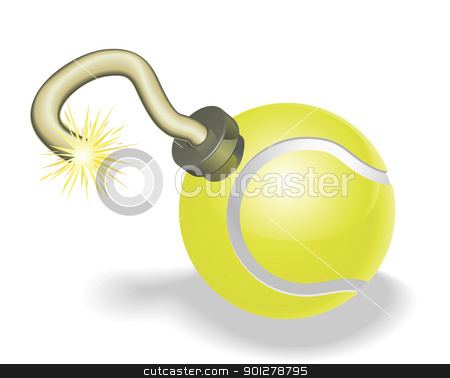 Tennis ball bomb concept stock vector clipart, Retro cartoon tennis ball cherry bomb with lit fuse burning down. Concept for countdown to big tennis event or crisis. by Christos Georghiou