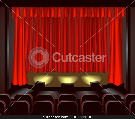 theatre illustration stock vector clipart, an empty theatre stage for you to place what you like on. Shading by blends not mesh  by Christos Georghiou