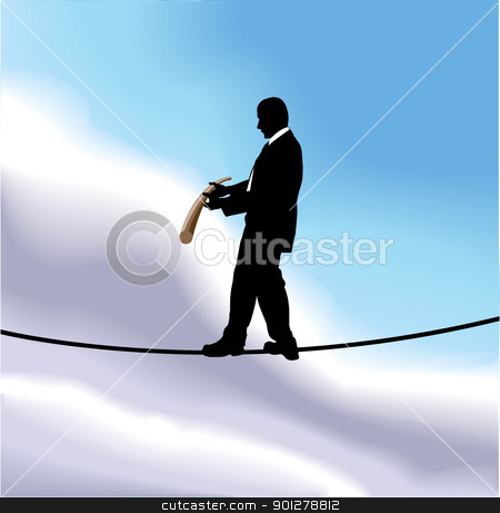 tightrope  business concept illustration stock vector clipart, A business man walking a tightrope high in the sky  by Christos Georghiou