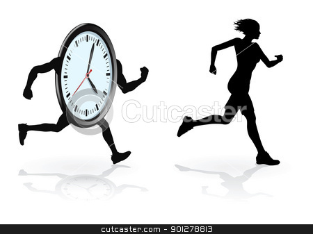 Beat the clock runner stock vector clipart, Running against the clock conceptual design. Woman trying to beat her best time or concept for being under time pressure.  by Christos Georghiou