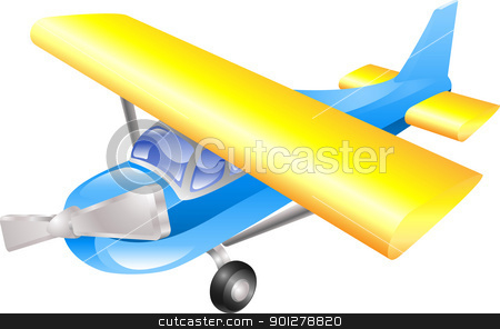 Aeroplane cartoon  stock vector clipart, Aeroplane cartoon illustration vector in blue and yellow  by Christos Georghiou