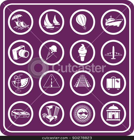 Travel and tourism Icons  stock vector clipart, Travel and tourism Icons  by Christos Georghiou