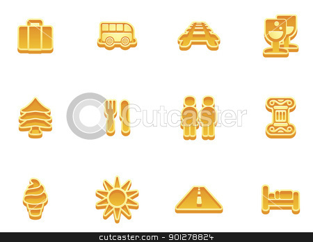 travel icon set stock vector clipart, illustration of a travel icon set series by Christos Georghiou