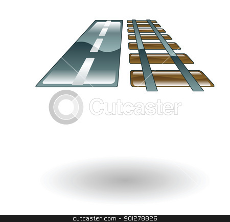 travel road and rail illustration stock vector clipart, Illustration of a road and railroad track by Christos Georghiou