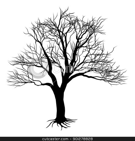 Bare tree silhouette stock vector clipart, An illustration of a scary bare black tree silhouette by Christos Georghiou