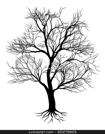 Hand drawn old tree silhouette stock vector clipart, A hand drawn old tree silhouette illustration by Christos Georghiou