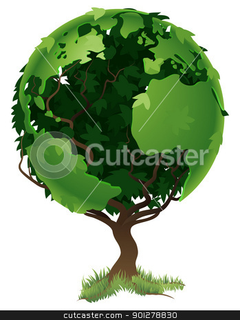 Globe world tree concept stock vector clipart, Environmental concept. Tree forming the world globe in its branches and leaves by Christos Georghiou