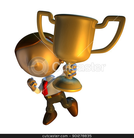 3d business man character holding a trophy stock photo, 3d render business man character holding a trophy or award or prize   by Christos Georghiou