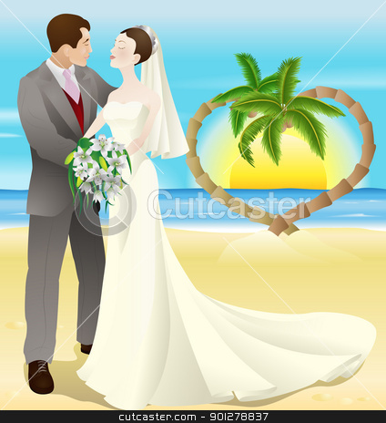 tropical destination beach wedding stock vector clipart, A tropical destination beach wedding illustration. A bride and groom newly wed on a tropical beach. Palm trees form a heart shape in the background with a sunset. by Christos Georghiou