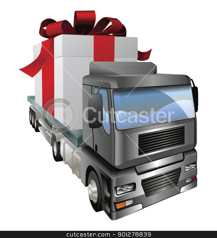 Gift truck concept stock vector clipart, An illustration of a lorry truck carrying a giant gift by Christos Georghiou