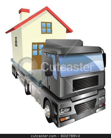 Moving house truck concept stock vector clipart, A house or home loaded onto the back of a truck or lorry. Moving house concept. by Christos Georghiou