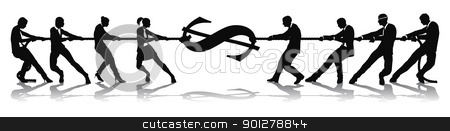 Fighting for wage equality tug of war concept stock vector clipart, Women fighting for wage equality with male business colleagues. Glass ceiling concept. by Christos Georghiou