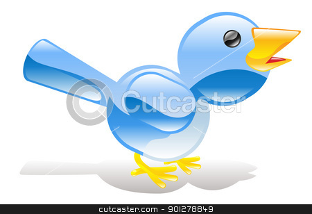 Twitter ing blue bird icon stock vector clipart, A tweet ing twitter ing blue bird icon or symbol by Christos Georghiou