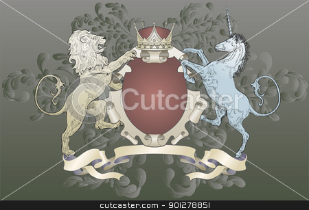 shield coat of arms  lion, unicorn, crown stock vector clipart, A shield coat of arms element featuring a lion, unicorn, crown and oak leaf scrolls  by Christos Georghiou
