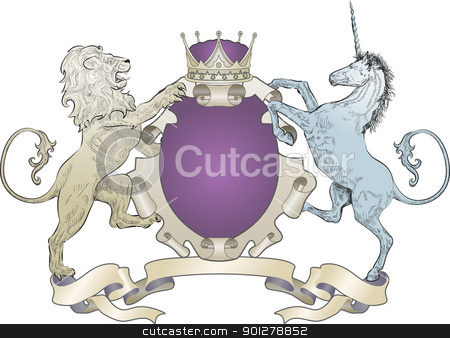 shield coat of arms lion, unicorn, crown stock vector clipart, A shield coat of arms element featuring a lion, unicorn and crown  by Christos Georghiou