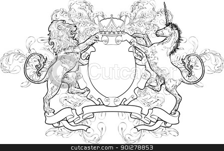 shield coat of arms lion, unicorn, crown stock vector clipart, A black and white shield coat of arms element featuring a lion, unicorn and crown  by Christos Georghiou