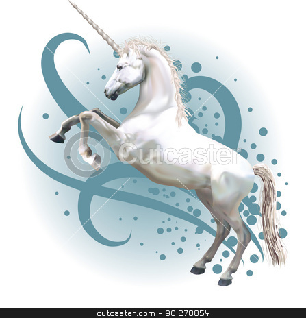 unicorn illustration stock vector clipart, A vector illustration of a unicorn rearing up on its hind legs.  by Christos Georghiou