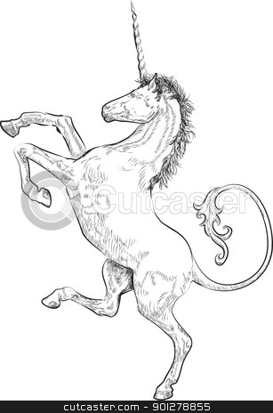 unicorn stock vector clipart, A vector illustration of a rampant (standing on hind legs) unicorn  by Christos Georghiou