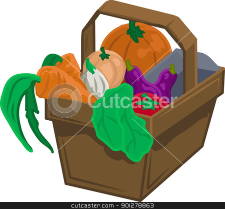 vegetables and produce in basket stock vector clipart, Basket of vegetable/ produce  by Christos Georghiou