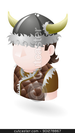 viking illustration stock vector clipart, Illustration of a viking by Christos Georghiou