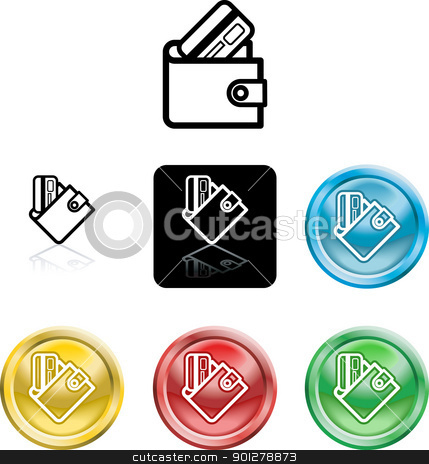 wallet and credit card icon symbol stock vector clipart, Several versions of an icon symbol of a stylised wallet and credit card  by Christos Georghiou