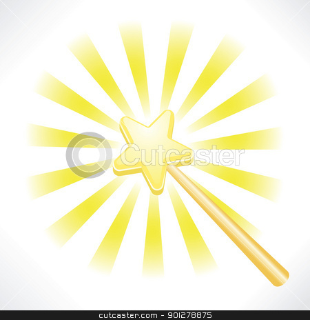 magical fairy star wand stock vector clipart, an illustration of a magical fairy star wand  by Christos Georghiou